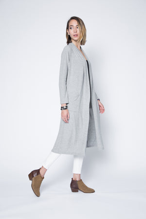 Long Sweater Cardigan with Shawl Collar