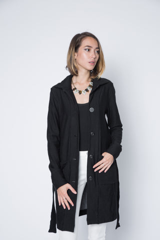 New! Sherry Button Up Collar Coat with Front Pockets
