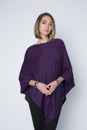 Long poncho sweater in wine color.  Super soft and lightweight sweater jersey.