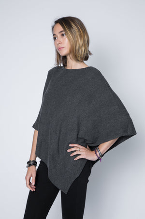 Long charcoal poncho sweater in super soft and lightweight sweater jersey.