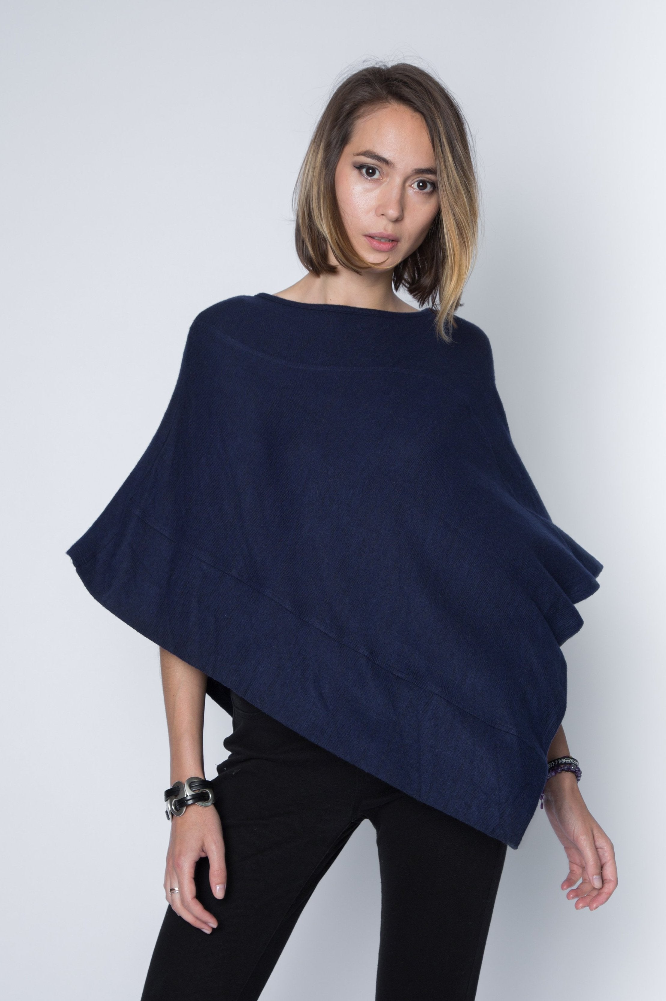 Long dark navy poncho sweater in super soft and lightweight sweater jersey.