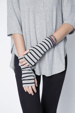 Cotton Fingerless Gloves Stripe UV Protective Coating