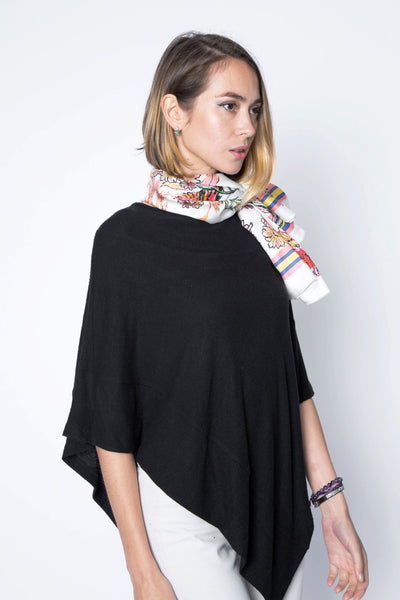 one size black poncho sweater