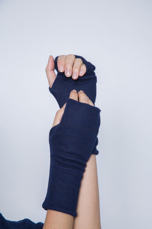double layer fingerless glove in black