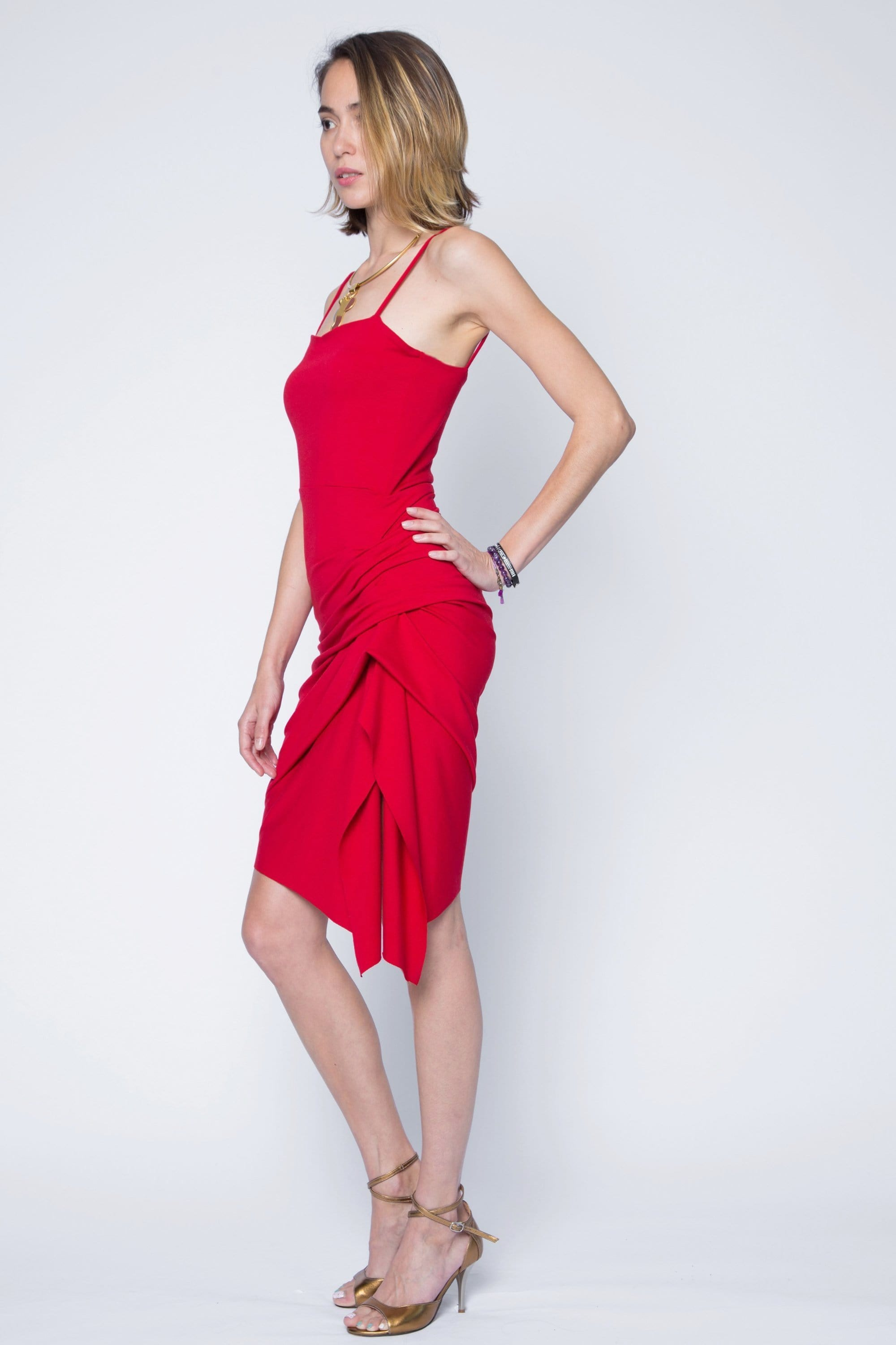 Rena Asymmetric Black Dress Side Rouge in Red