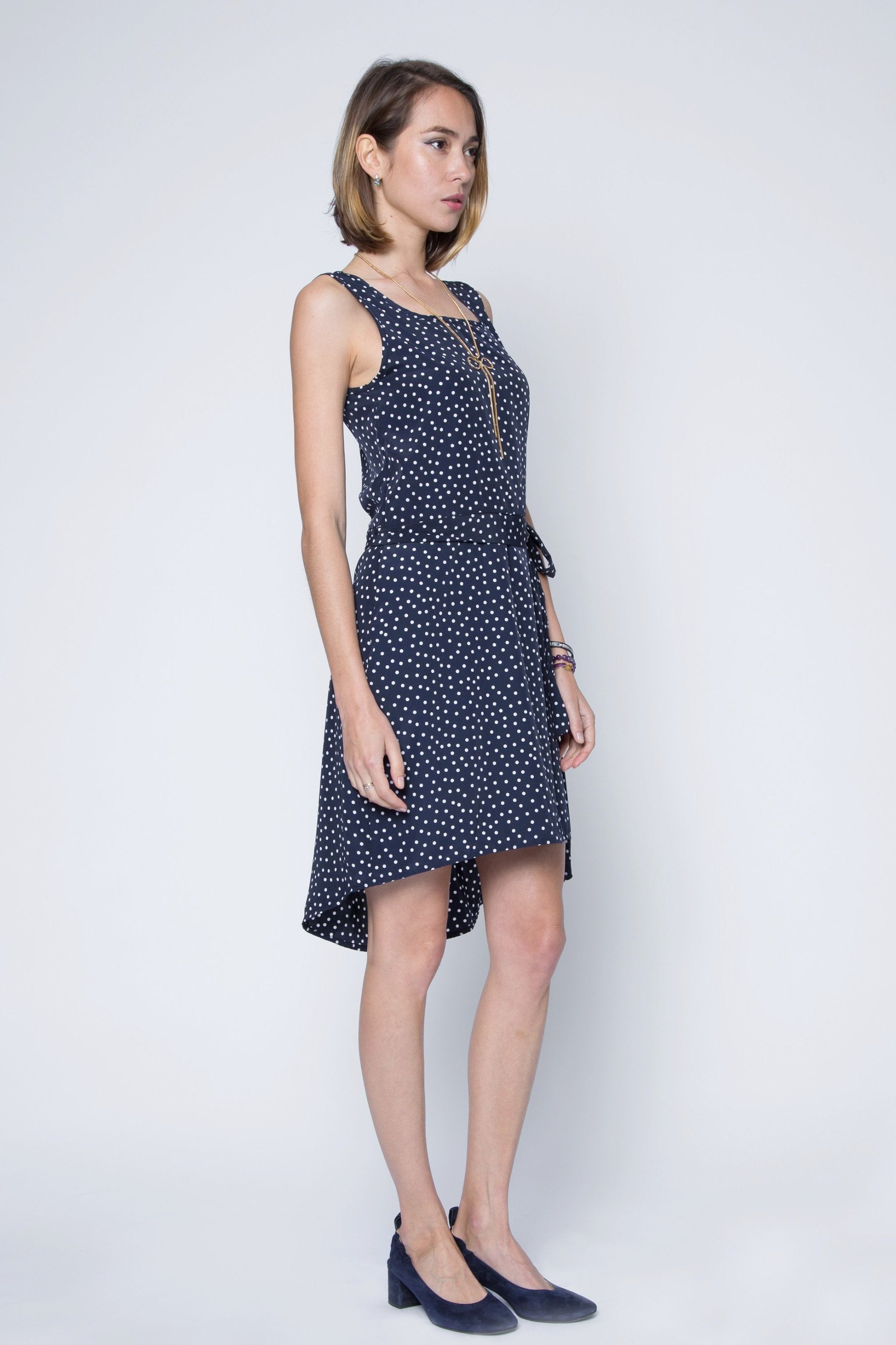 Polka Dot Chiffon High Low Dress with Waist Band