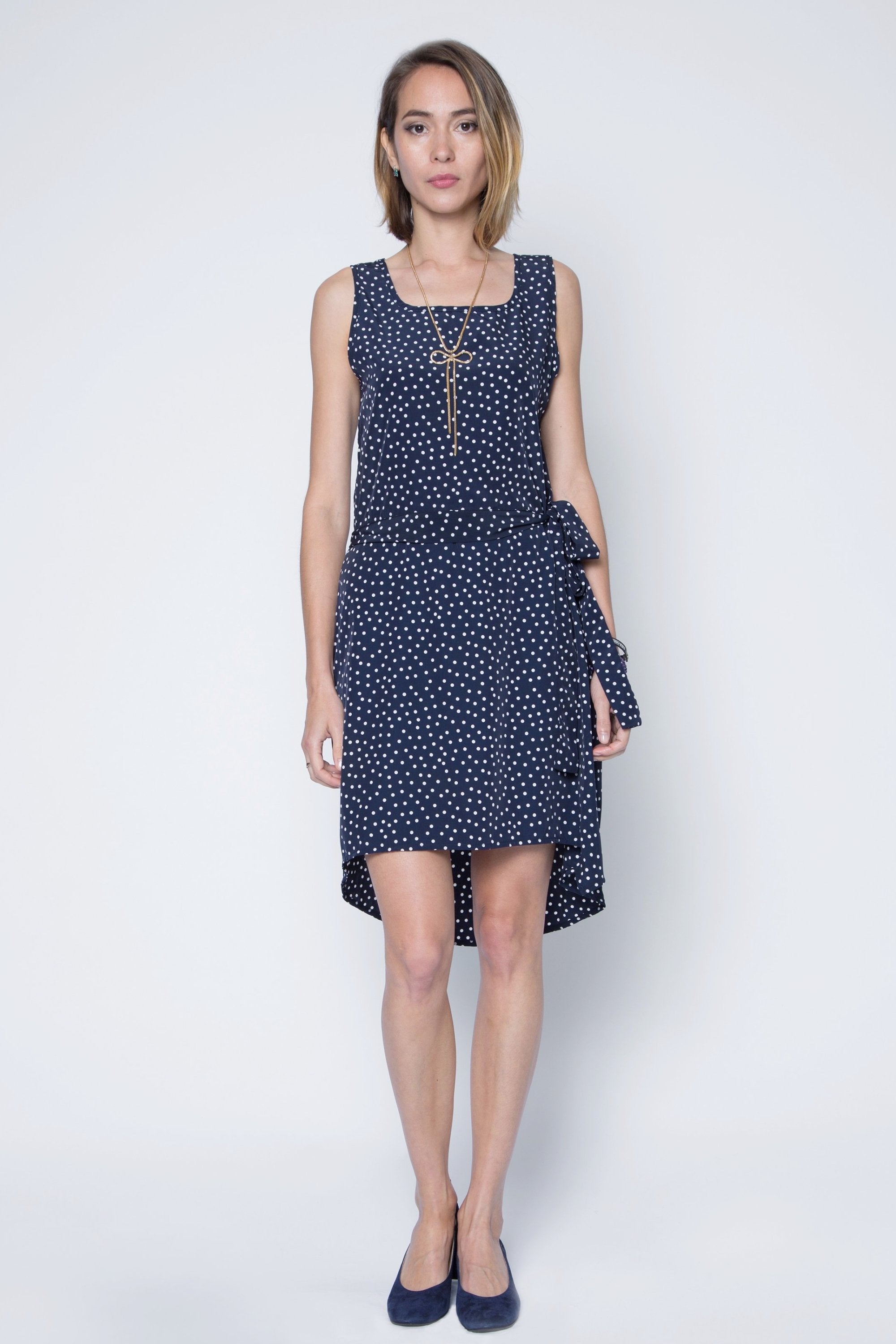 New! Polka Dot Chiffon High Low Dress with Adjustable Waist