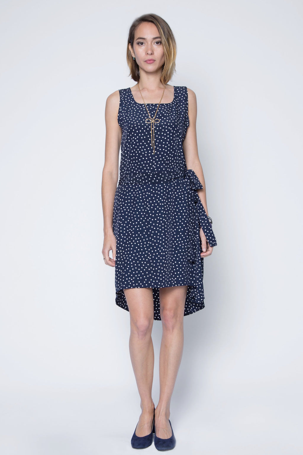 Polka Dot Chiffon High-Low Dress with Waistband