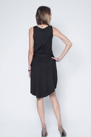 Black modal high low dress.