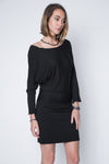 black dolman dress in relax fit sleeve