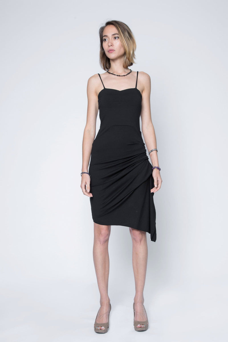 Rena Asymmetric Dress with Side Rouge