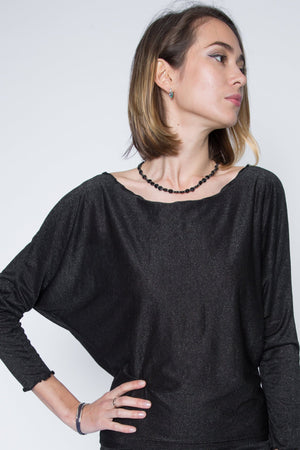 black dolman top with sparkle