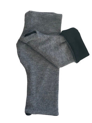 Reversible Fingerless Gloves in Soft Cashmere Feel Double Layer Sweater Jersey