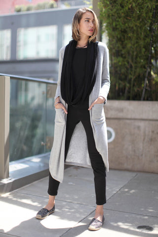 New! Shawl Collar Long Cardigan in Long Sleeves Sweater Jersey