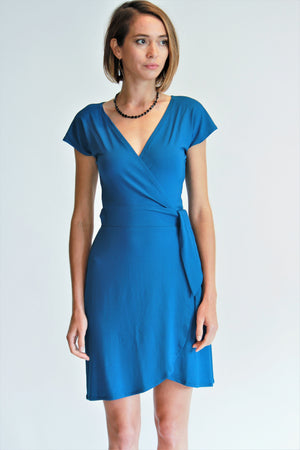 Imelda Cap Sleeve Jersey Wrap Dress