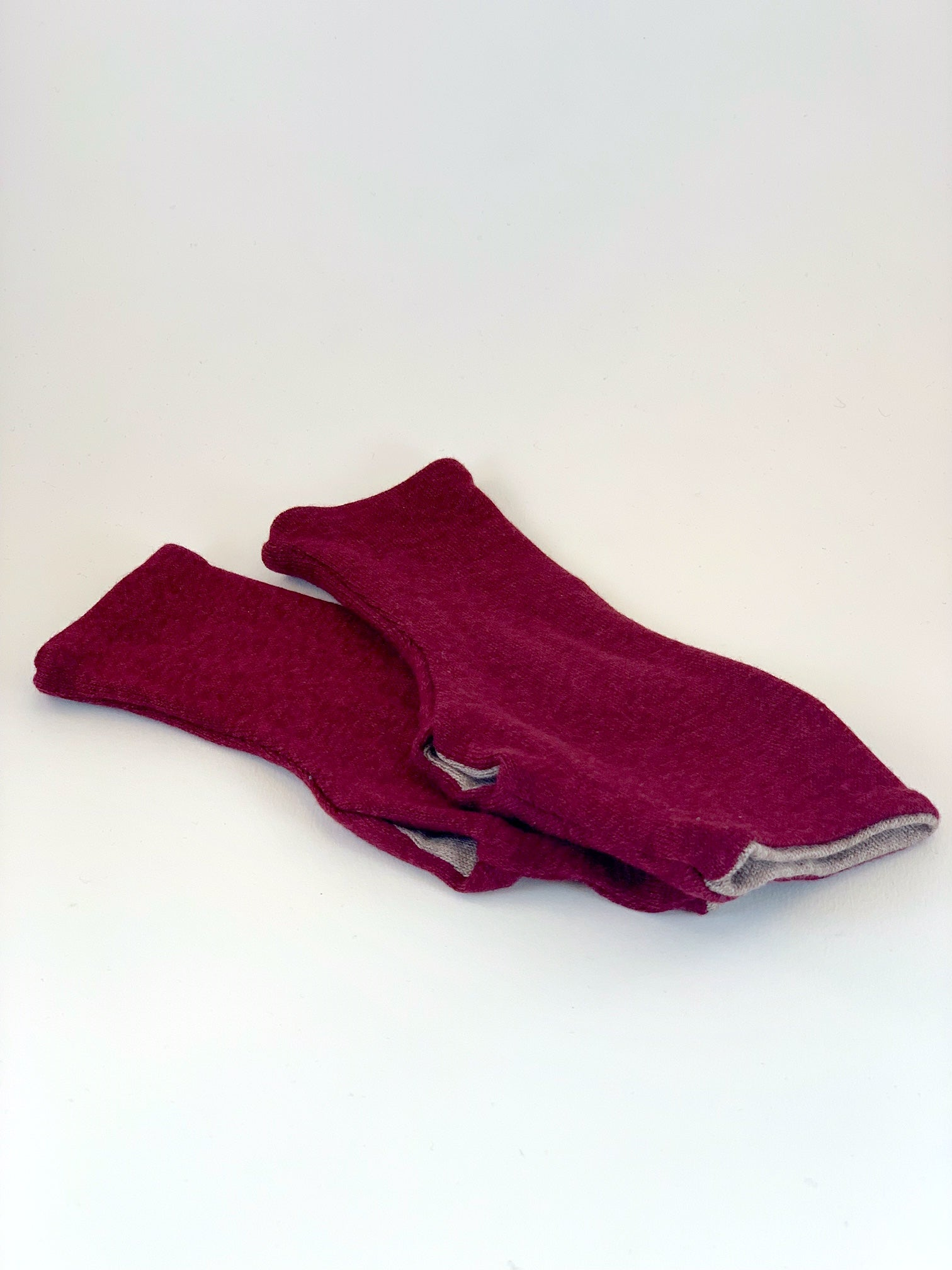 One Size Reversible Sweater Fingerless Gloves in Soft Double Layer