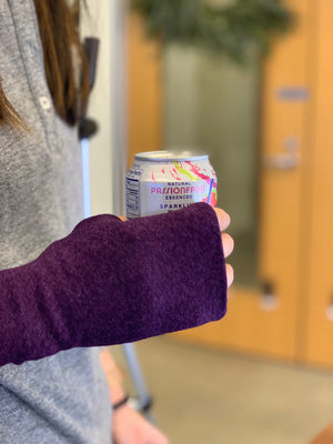 One size double layer fingerless glove in plum