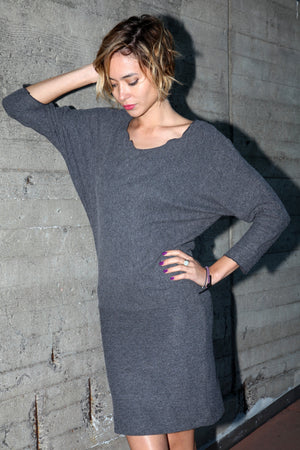 black dolman sweater dress in relax fit sleeve