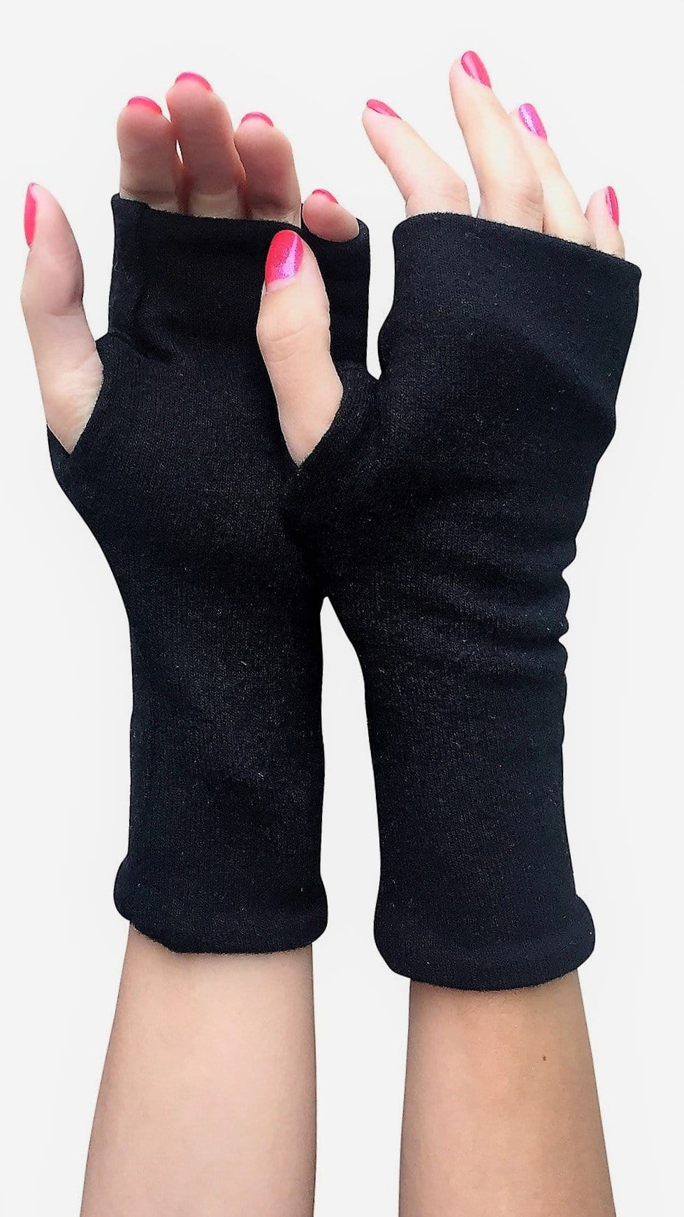 One size reversible sweater fingerless gloves.