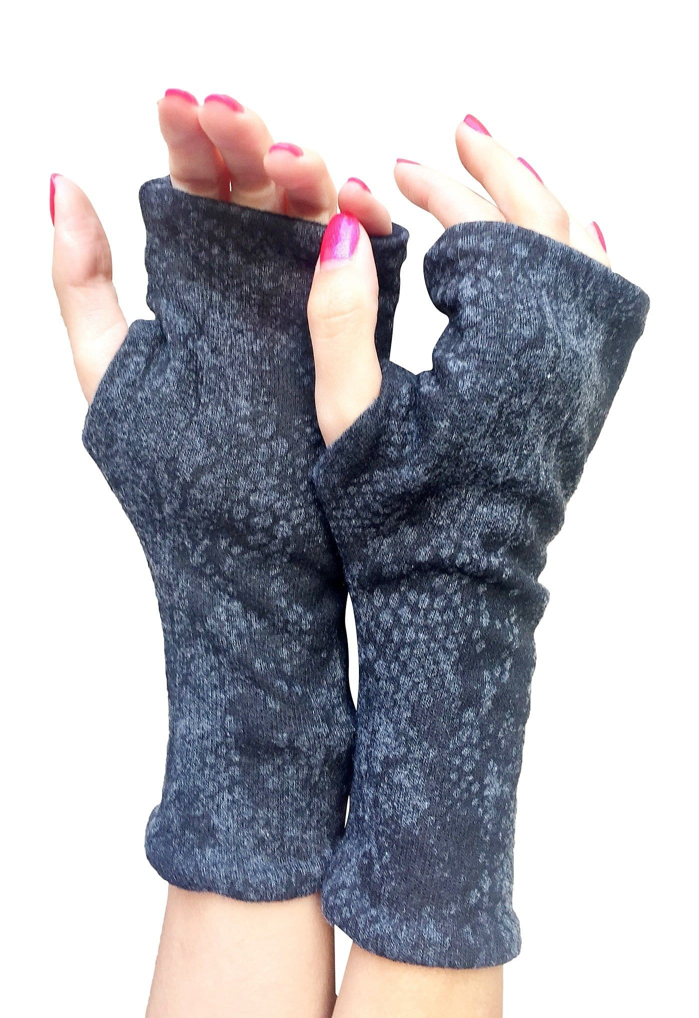 One size double layer fingerless glove in charcoal snake print