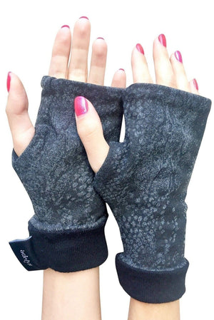 One size reversible sweater fingerless glove in charcoal snake print