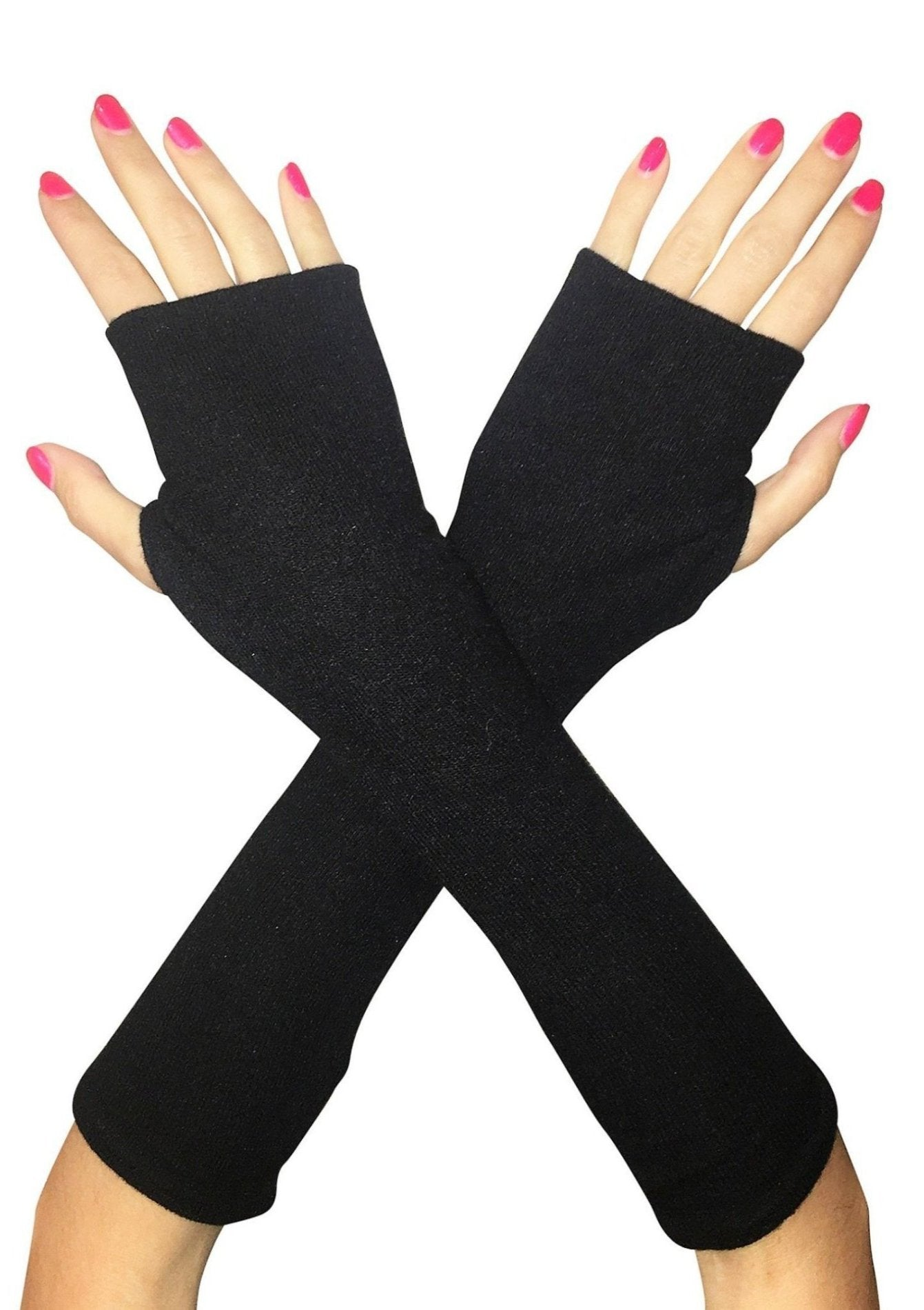Black long sweater fingerless gloves in super soft single layer jersey.