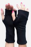 One size black fingerless gloves.