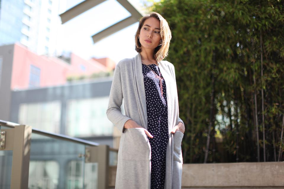 Over the Knee Long Cardigan with Two Patch Pockets