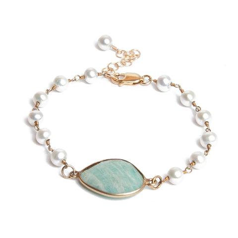 Pearl and Amazonite Bracelet