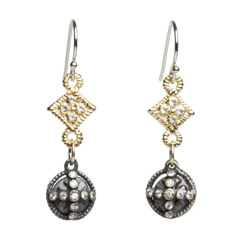 Oxidized Silver Ball Cross Earrings