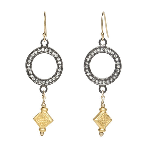 Crystal Hoop Gold Drop Earrings