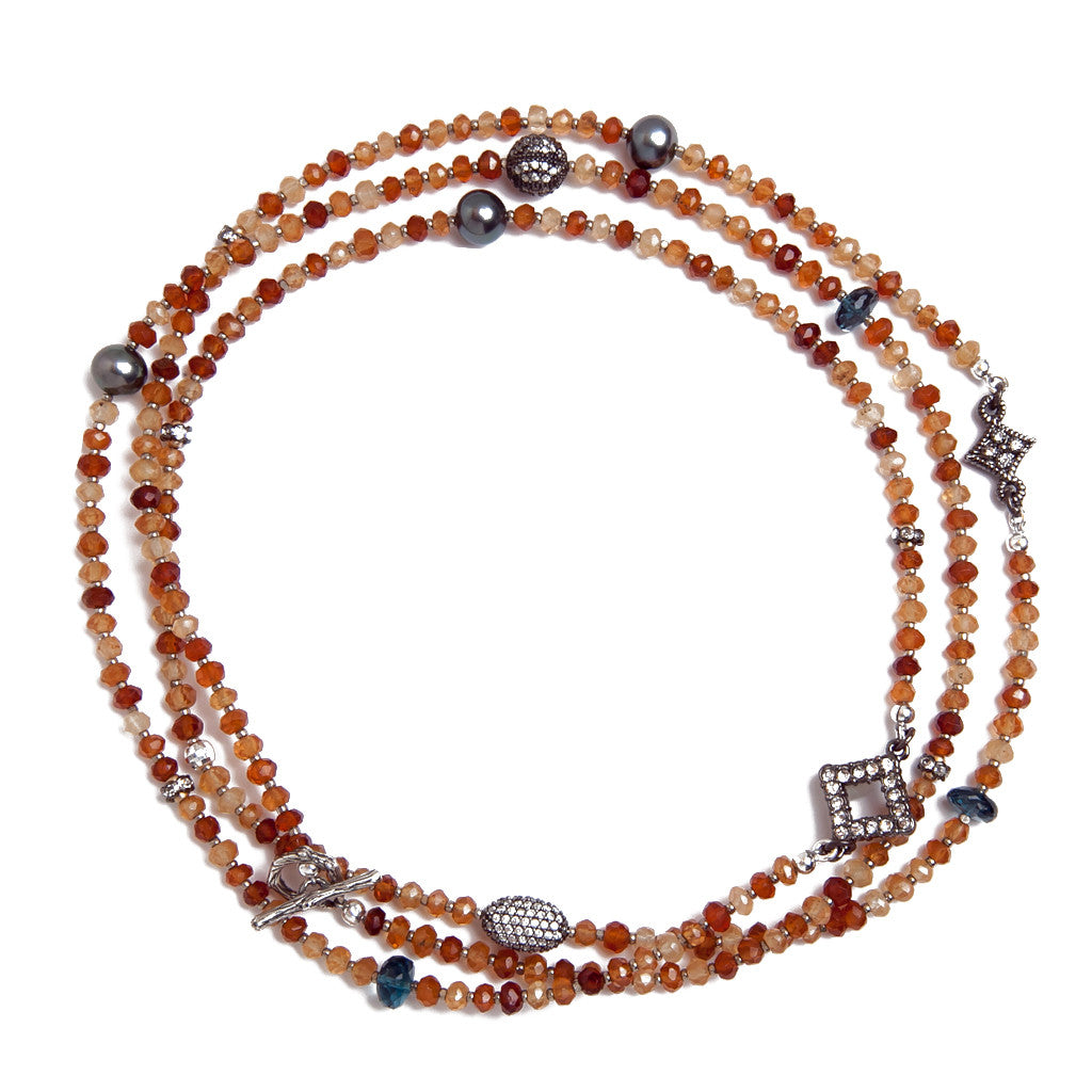 Hessonite Garnet Multi Station Necklace