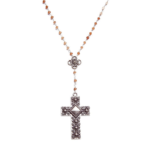 Oxidized Silver Cross Y Necklace