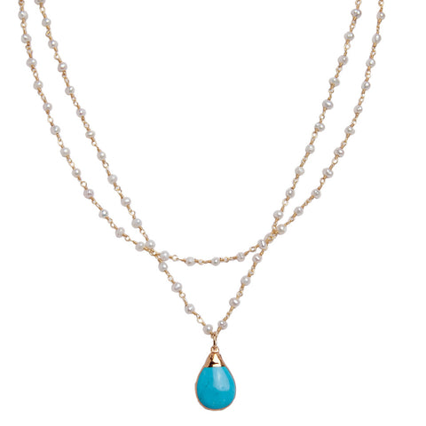 Turquoise Howlite Pearl Necklace