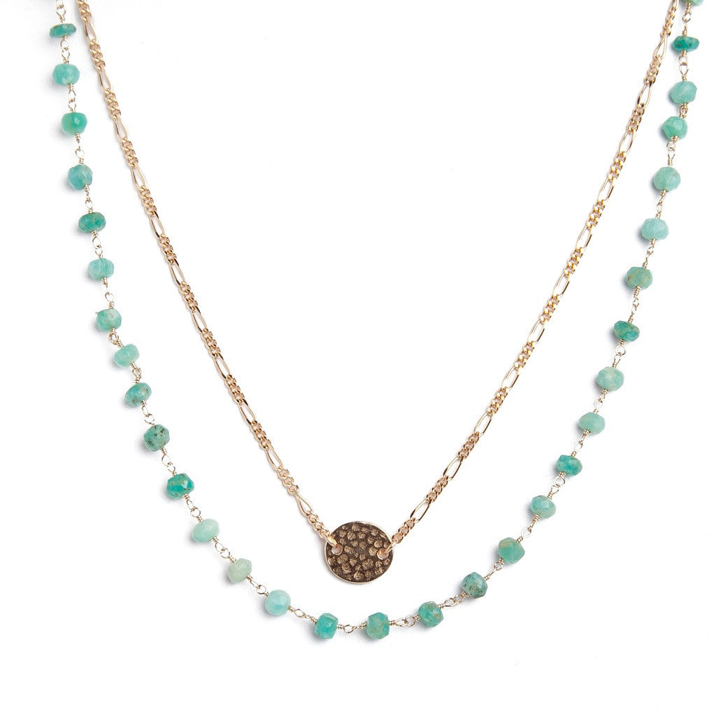 Hammered Oval Turquoise Necklace