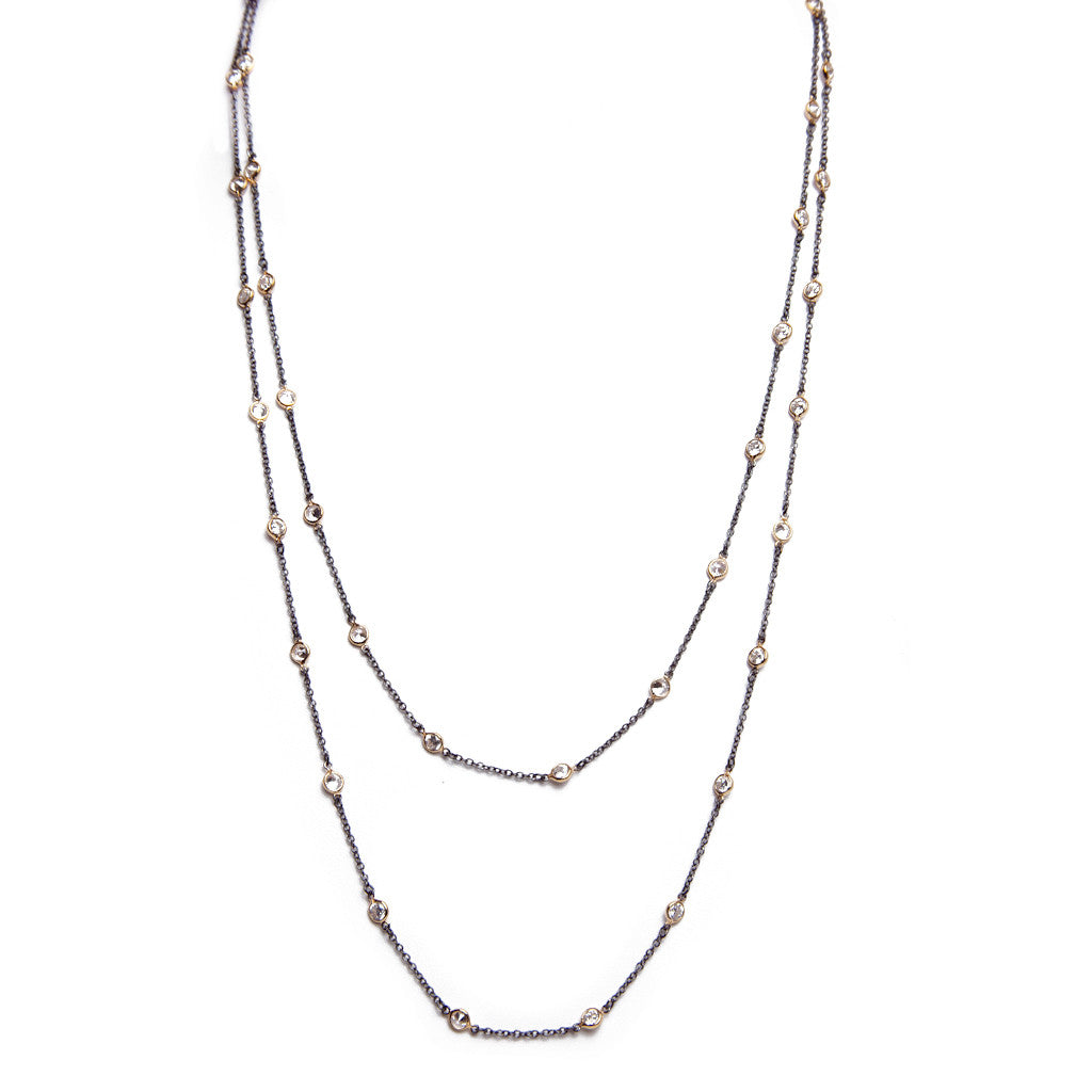 Doubled Delicate CZ Chain Necklace