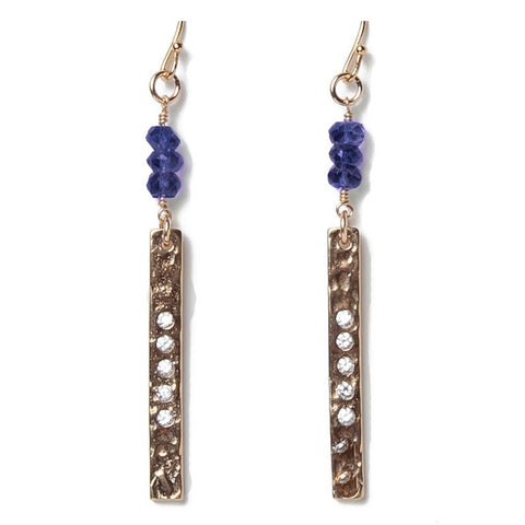 Hammered Gold Bar Iolite Earrings