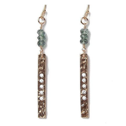 Hammered Gold Bar Green Quartz Earrings