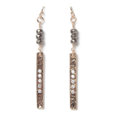 Hammered Gold Bar Pyrite Earrings