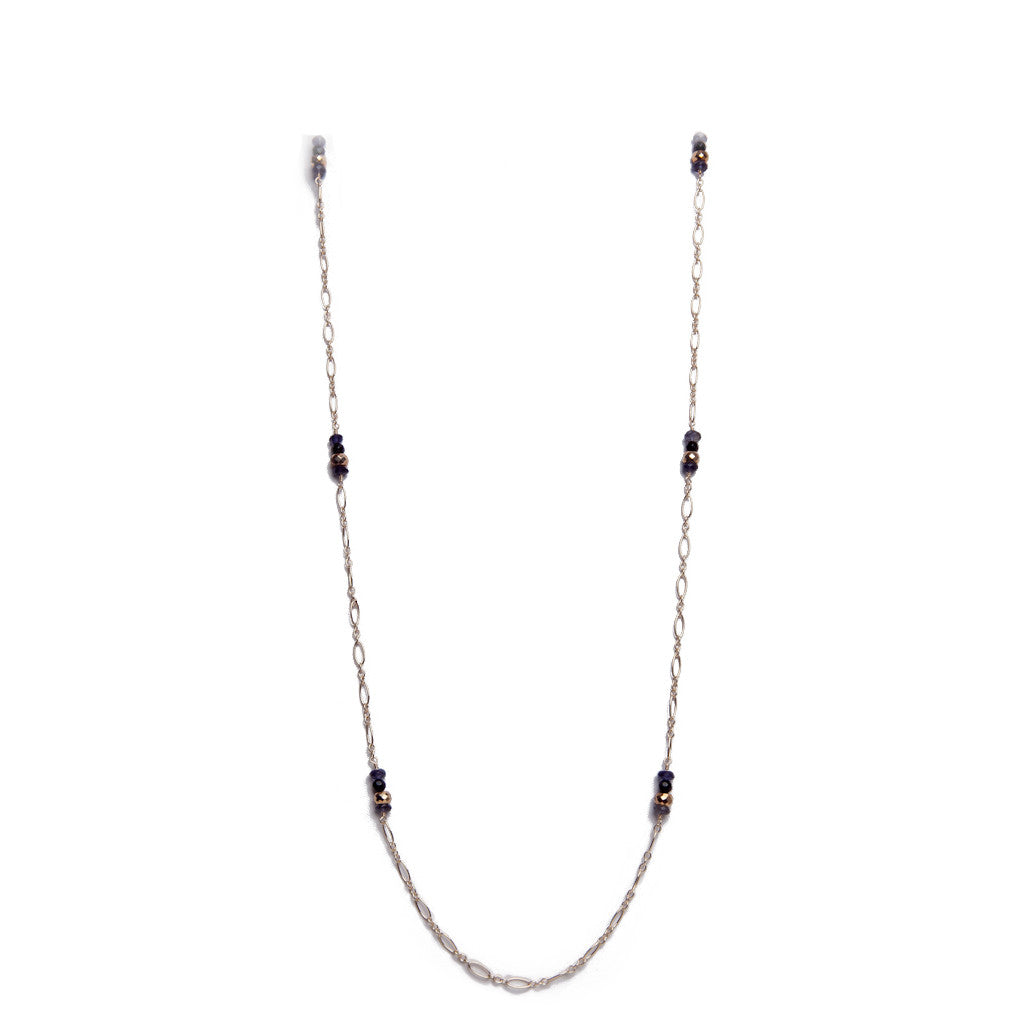 Iolite, Pyrite, and Onyx Station Necklace