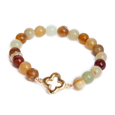 Yellow Jade Gold Clover Bracelet