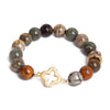Petrified Wood Gold Clover Bracelet