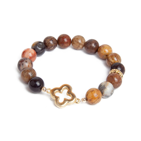 Red Creek Jasper Gold Clover Bracelet