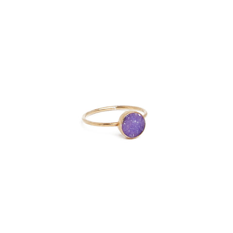 Small Purple Druzy Ring