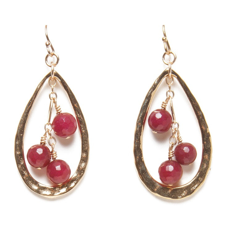 Red Jade Drop Earrings