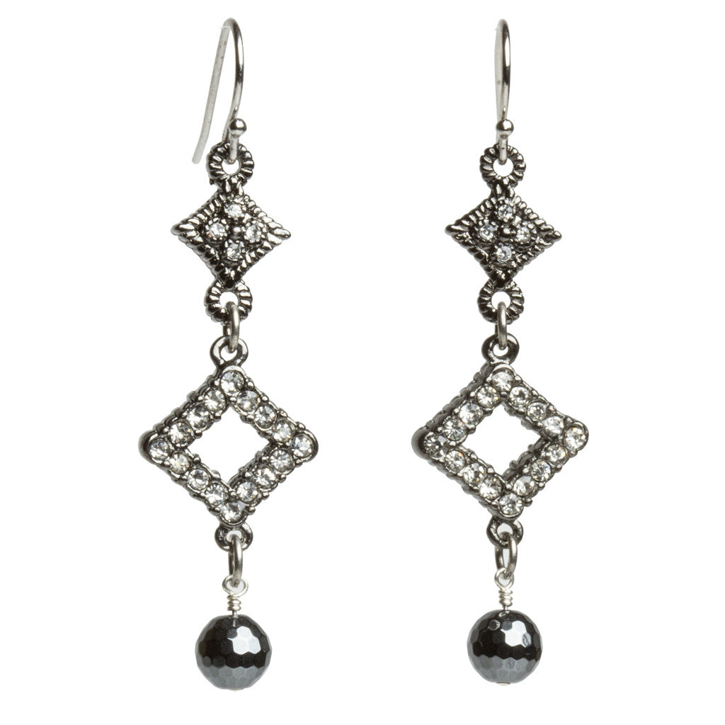 Multi Diamond Shaped Hematite Earrings