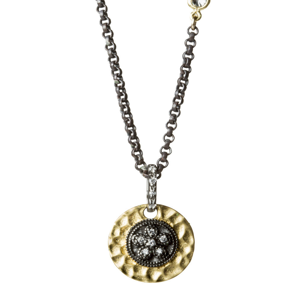 Oxidized Platinum Gold Pendant Necklace