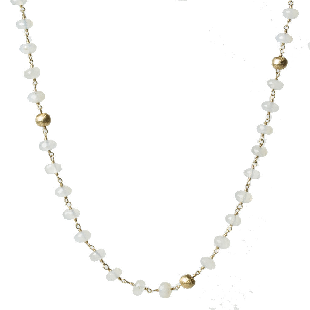 Bold Moonstone Gold Station Necklace