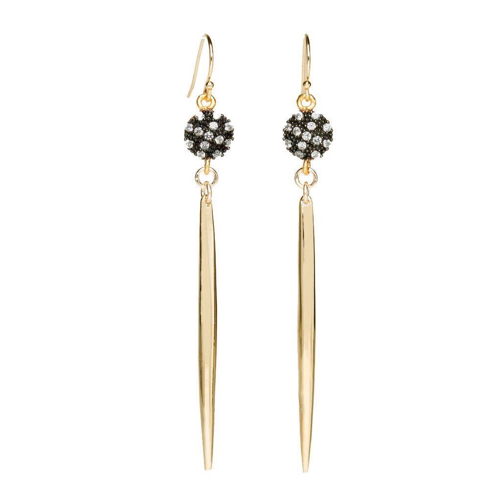 White Topaz Gold Spike Earrings