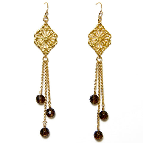 Smokey Topaz Filigree Earrings